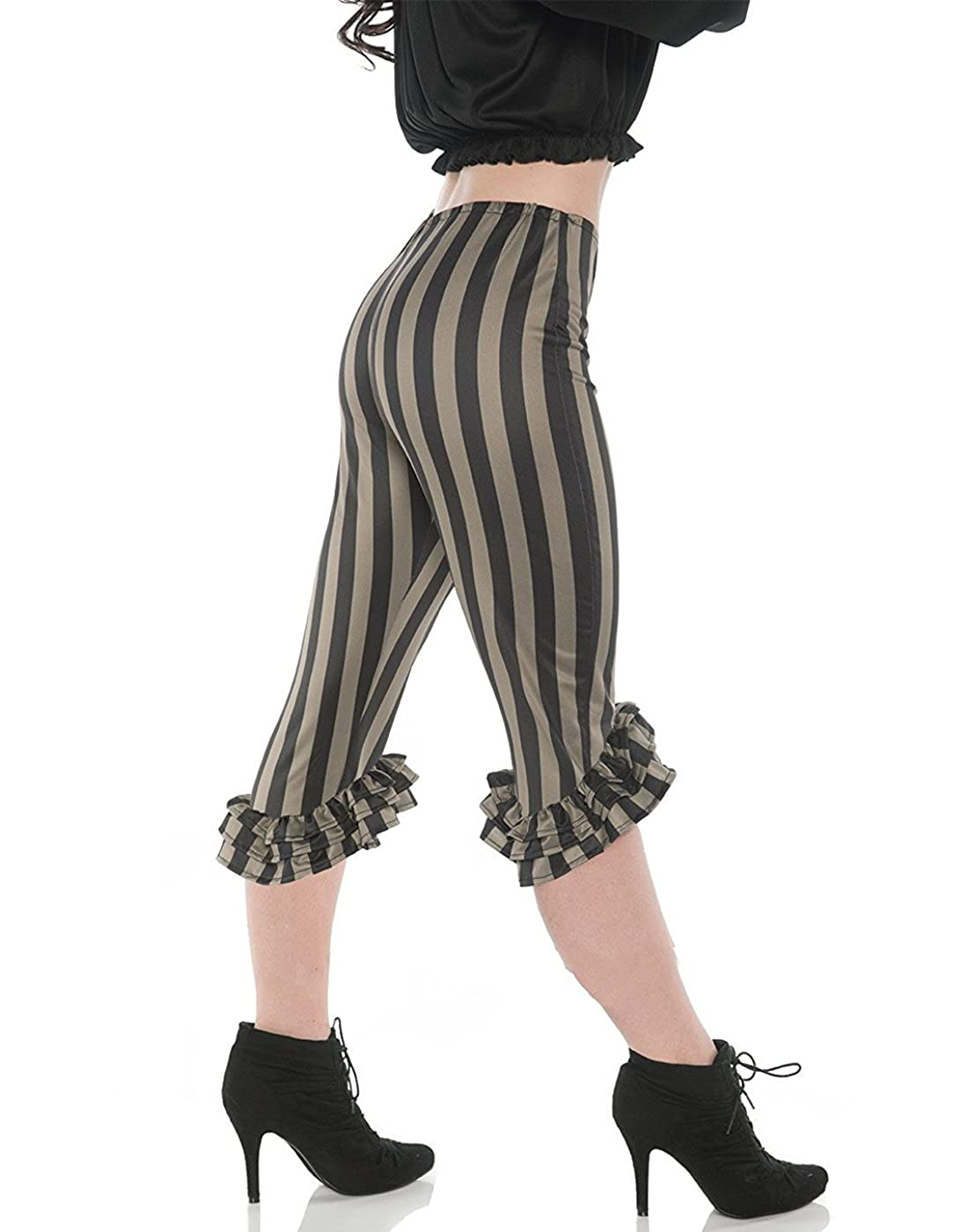 Women's Sexy Pirate Costume Black & Green Stripe Ruffle Leggings - DeluxeAdultCostumes.com