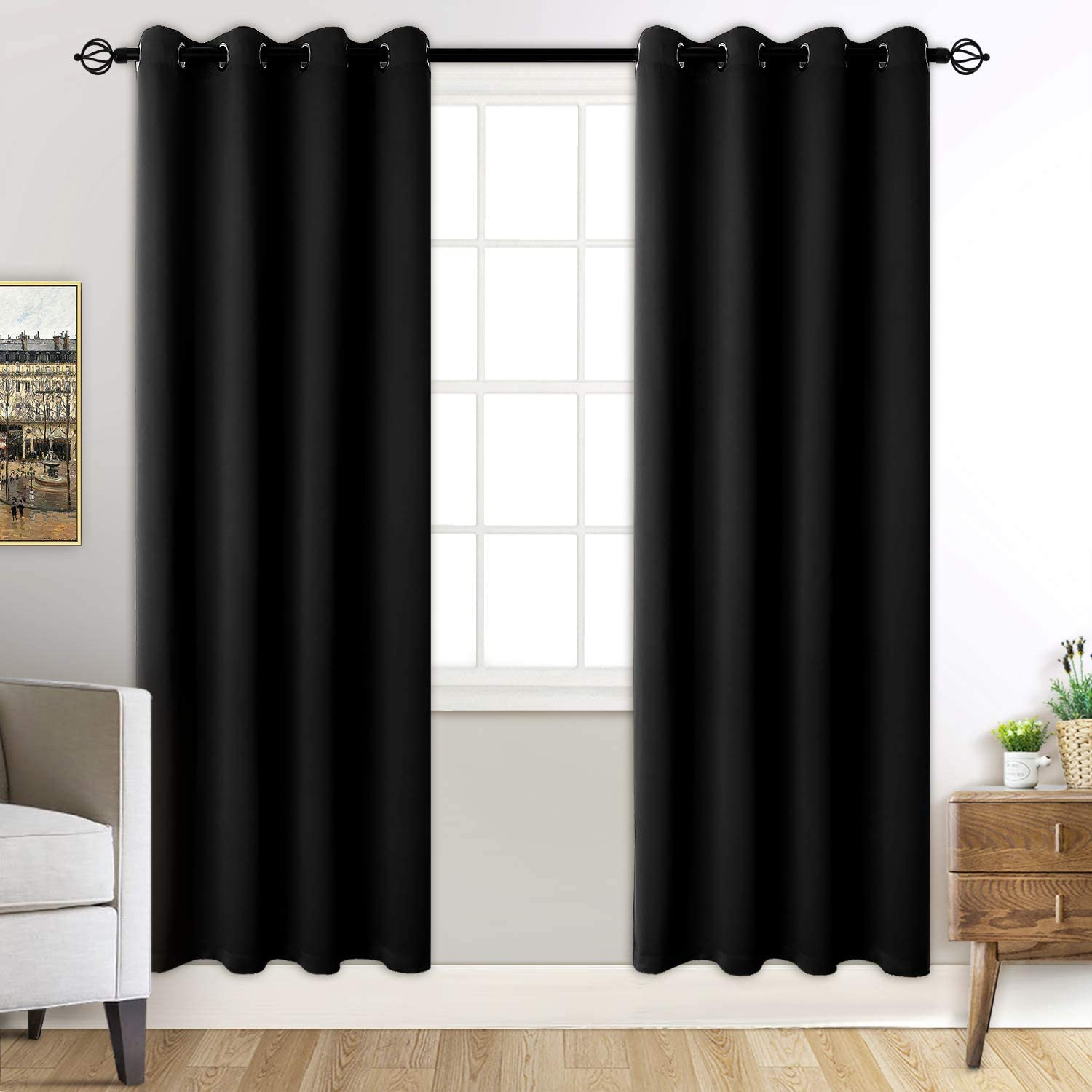 Beige Rutterllow 2 Panels Set Blackout Grommet Curtains Thermal Insulated Noise Reducing Darkening Drapes for Bedroom 42 x 63 Inch