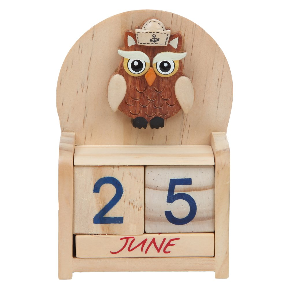 Home-X - Perpetual Wood Desk Calendar, Owl Design Wood Calendar with Painted Blocks for The Entire Calendar Year
