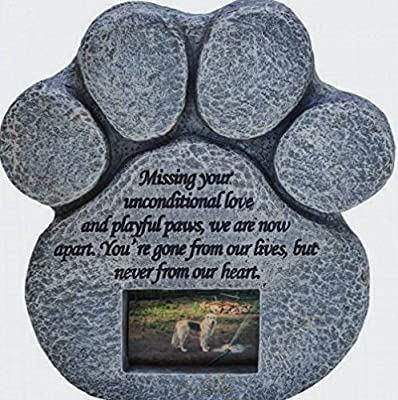 Paw Print Pet Memorial Stone -- Features a Photo Frame and Sympathy Poem - Indoor Outdoor Dog or Cat For Garden Backyard Marker Grave Tombstone - Loss of Pet Gift by Pawprints Remembered