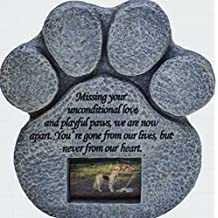 Paw Print Pet Memorial Stone -- Features a Photo Frame and Sympathy Poem. Made of Weatherproof Resin. Indoor/Outdoor. Dog or Cat. For Garden, Backyard, or House