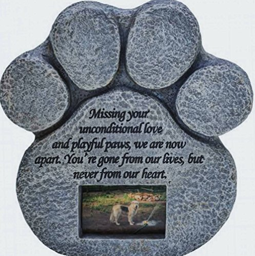 Paw Print Pet Memorial Stone - Features a Photo Frame and Sympathy Poem - Indoor Outdoor Dog or Cat for Garden Backyard Marker Grave Tombstone - Loss of Pet Gift (Personalized Stone Pet Memorial)