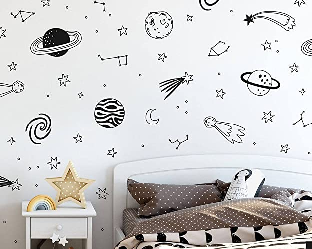 Amazon.com: Outer Space Wall Decals - Star Decals, Planet Decals ...