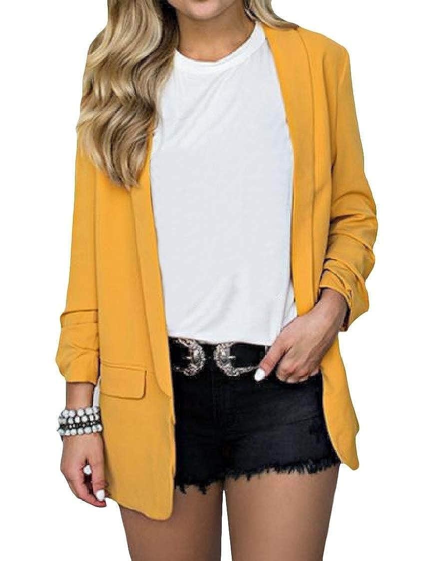 Fubotevic Womens Long Sleeve Lapel Plus Size Solid Color Open Front Blazer Coat