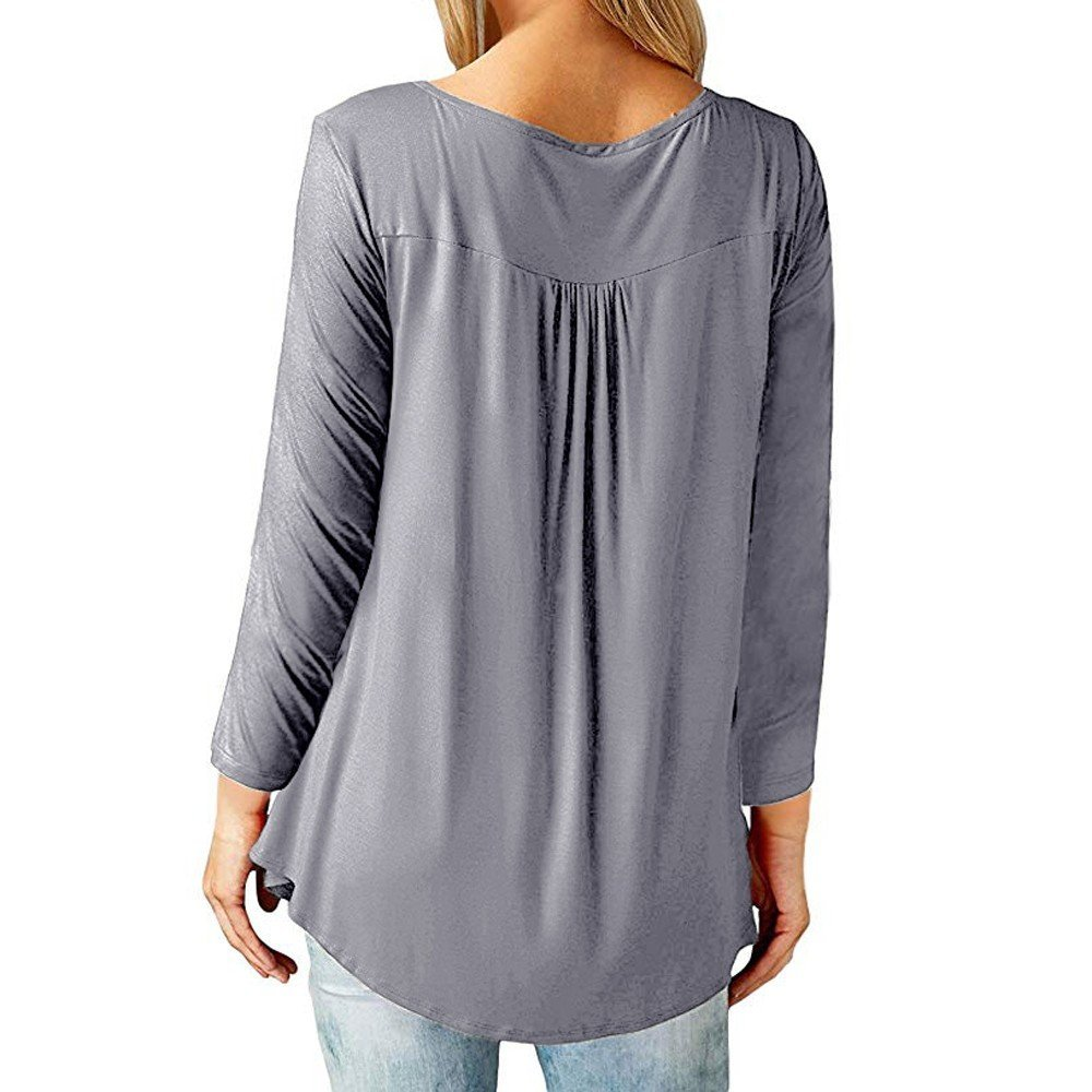 Amazon.com : Clearance!HOSOME Women Top Women Autumn Casual Loose Long Sleeve Button up Pleated Loose Tunic Blouse Tops Shirt : Grocery & Gourmet Food