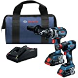 BOSCH GXL18V-224B25 18V 2-Tool Combo Kit with Connected Freak 1/4 In. and 1/2 In. Two-In-One Bit/Socket Impact Driver and Bru