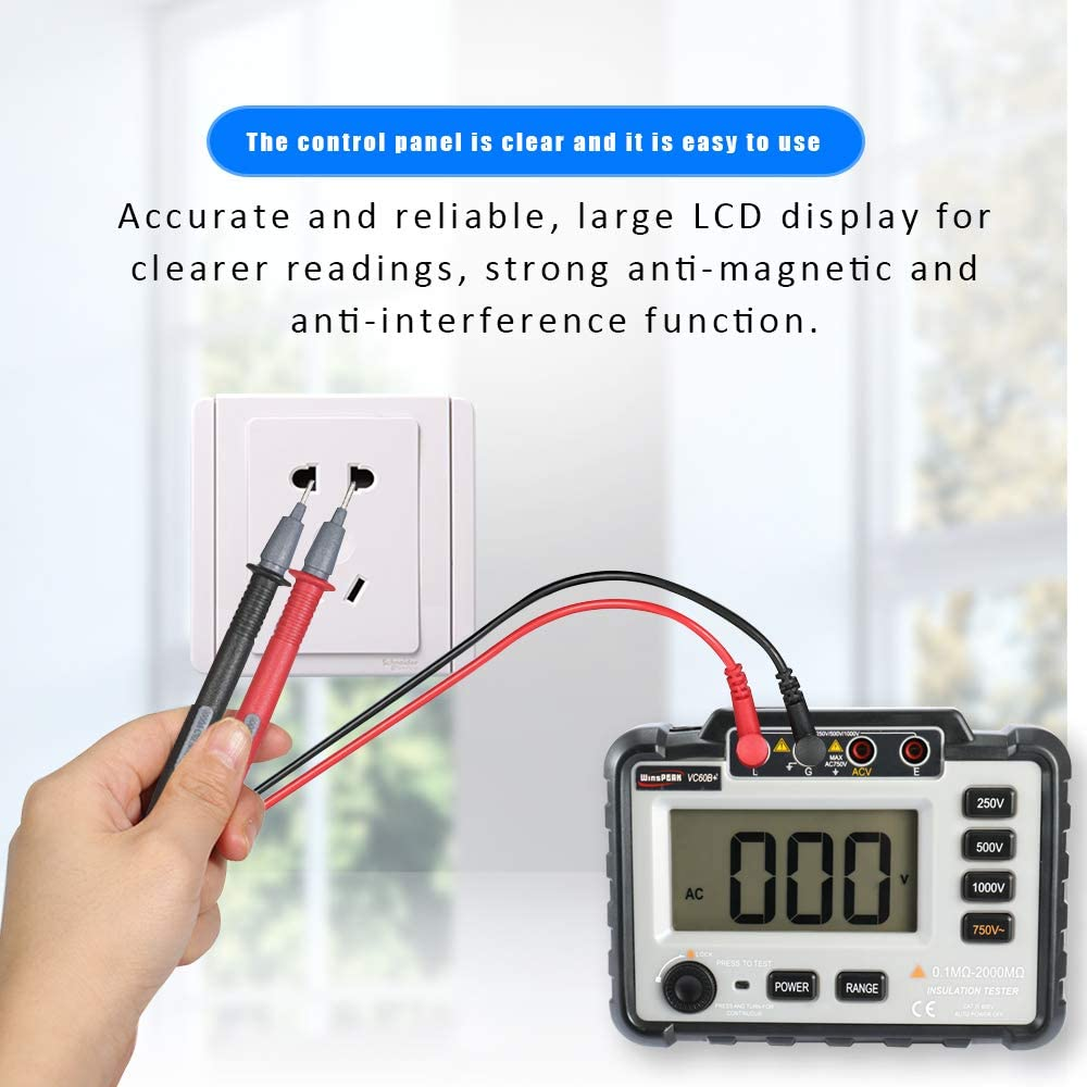 Testeur de R/ésistance,WinsPEAK VC60B+Mesureur de r/ésistance disolement /à Affichage Num/érique LCD Megameter DC250V//500V//1000V AC750V avec Plage de Mesure /étendue