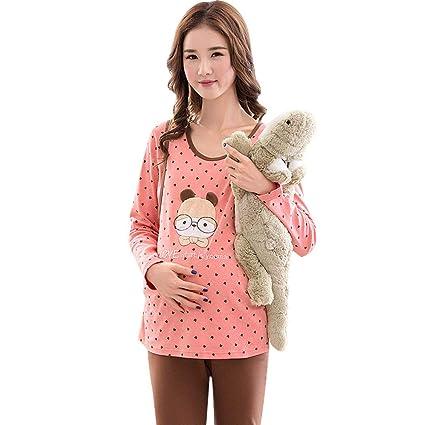 Nightwear Maternity Pajamas Pregnancy Cotton Dot Nightwear Long-sleeve Pregnancy  Sleepwear Breastfeeding Clothes Wonderful Pregnant 3d941f861d62
