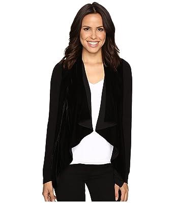 91471a5f9d7 Image Unavailable. Image not available for. Color  MICHAEL Michael Kors  Womens Velvet Trim Open Front Cardigan Top Black M