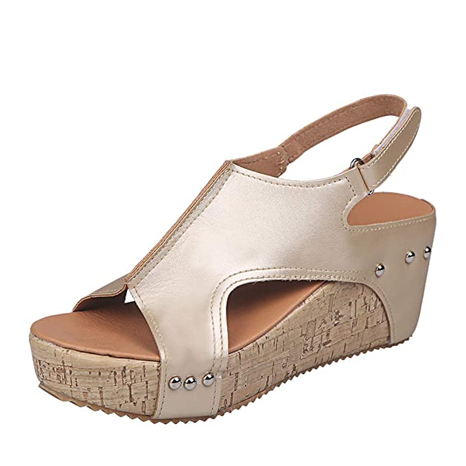 c3b59206bbf AHAYAKU Sandals For Women Open Toe Breathable Beach Sandals Rome Casual  Solid Color Wedges Shoes at Amazon Women s Clothing store