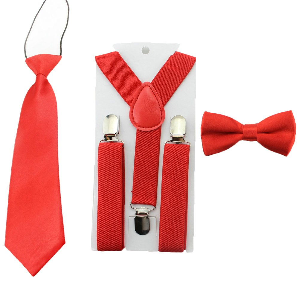 Toddler Baby Boys Clip On Suspenders Bow Tie Necktie Wedding Accessories (Red) CBD308-2