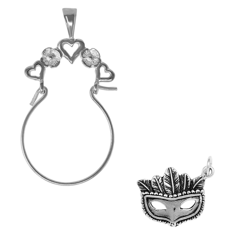 Raposa Elegance Sterling Silver Mardi Gras Mask Charm on Optional Charm Holder