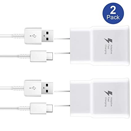 Adaptive Fast Charger kit Wall Charger Adapter Compatible with Samsung Galaxy S8/S9/S10 Plus/note8/9, Include 2X Charging Adapter + 2X Type-C Cable (2 ...