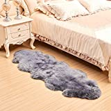 Faux Sheepskin Fur Nursery Rug, Shaggy Area Rugs Couch Chair Cover Seat Pad Bedroom Fluffy Carpet, 2×6 Feet, Grey For Sale