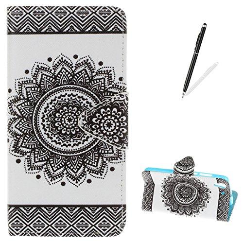 Huawei Y6 II Flip Wallet Case,KaseHom Slim Premium PU Leather Holster [Free Stylus Pen] with Dual Card Slots Kickstand Colourful Pattern Build in Rubber Shockproof Bumper Cover Black Mandala -