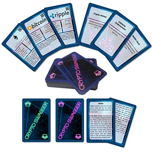 Fronhofer Crypto Swagger - Bitcoin & Crypto Tactical Card Game - Super Trumps + Action + Strategy + Learning - Blockchain Fun Game (Ripple Wave Board)