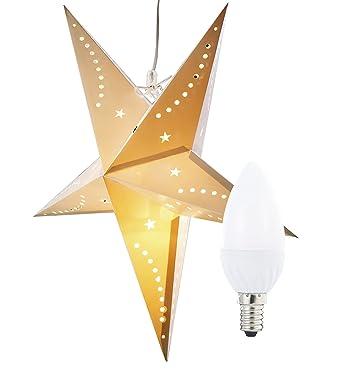 Led Beleuchtung Für Papiersterne | Lunartec Sternenlampe 3d Weihnachtsstern Leuchte Aus Papier 60 Cm