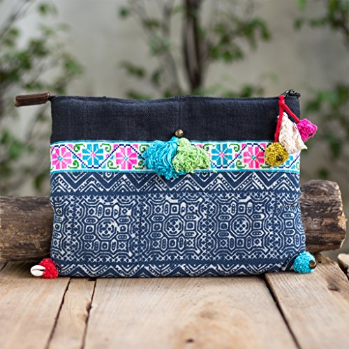 (Changnoi Blue Hmong Pom Pom Clutch Unique Tribal Embroidered with Batik Fabric Fair Trade)