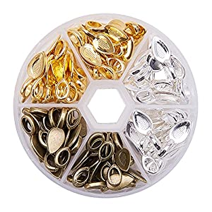 PandaHall Elite 1 Box About 100 Pcs Leaf Shape Tibetan Style Glue-on Flat Pad Bails Cadmium and Lead Free Size 21x8x6mm for Craft Pendants 3 Mixed Color