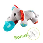 Hombae Baby Pacifier Holder Stuffed Animal for Baby Girls, Infant Soothie Pacifier and Teether Holder with Clip, BPA-Free Baby Shower Gift for Boys & Girls, Elephant