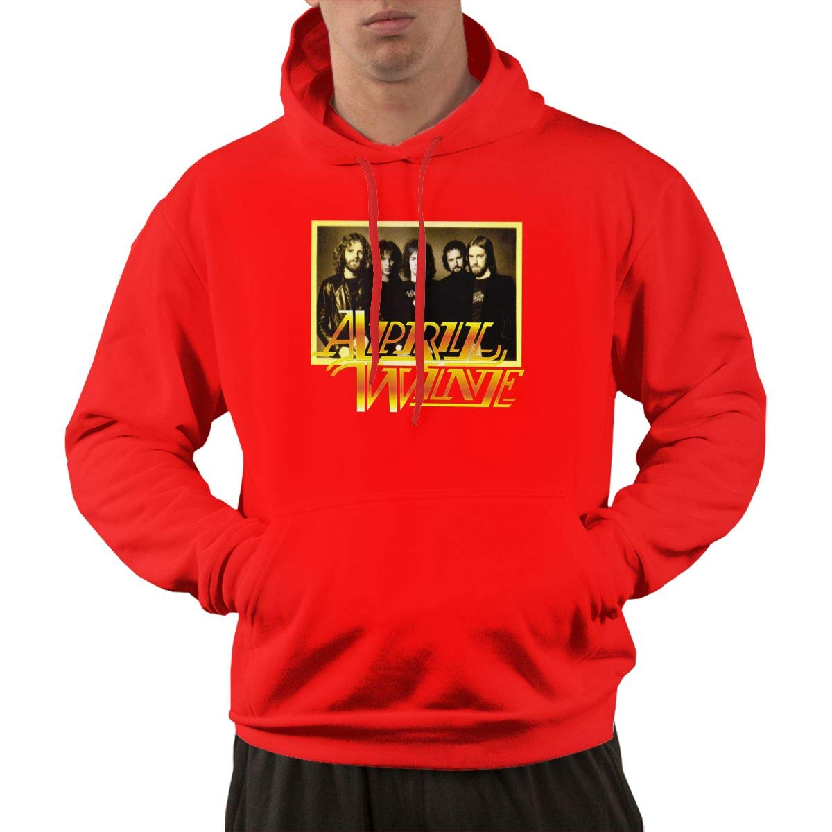 Pullover Casual Red Print April Wine 1 Hooded Shirts With Pocket L