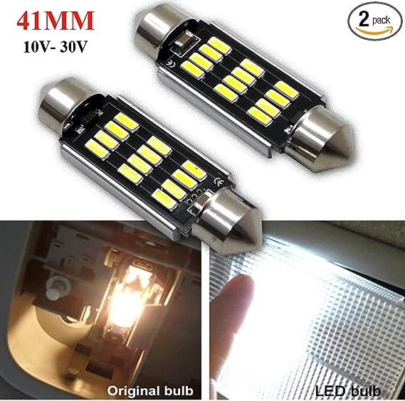 Pack of 2 Ruiandsion Canbus LED Festoon Light Bulbs 31mm 10-30V 4014 12SMD LED Car Interior Map light Dome Reading Bulbs,White