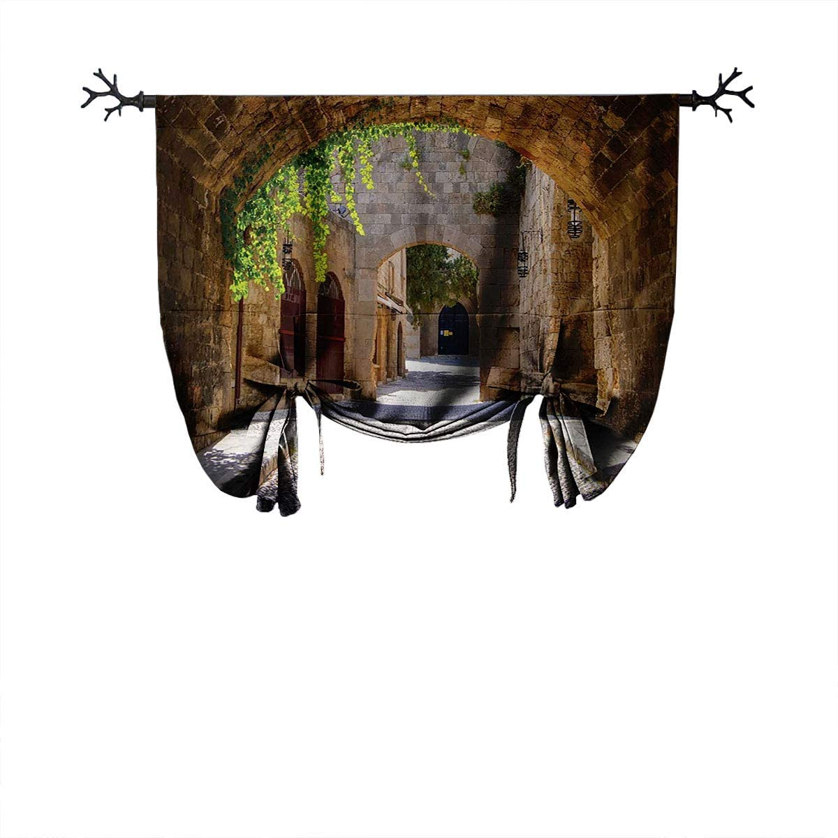 LanQiao Tuscan Decor Collection Insulated Roman Curtain Ancient Italian Street in Small Provincial Town of Tuscan Italy Europe Gift Curtain W24 xL55 Ivory Green Grey