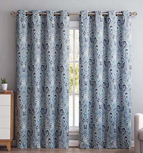 HLC.ME Paris Paisley Damask Thermal Blackout Grommet Window Curtain Panels – Pair – 50″ wide X 84″ inch Long (Blue)