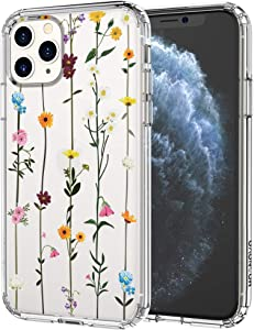 MOSNOVO iPhone 11 Pro Max Case, Wildflower Floral Flower Pattern Clear Design Transparent Plastic Hard Back Case with TPU Bumper Protective Case Cover for Apple iPhone 11 Pro Max (2019)