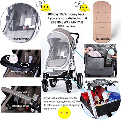 61tBoUbBPpL - Infant Toddler Baby Stroller Carriage - Cynebaby Compact Pram Strollers Single Stroller Add Cup Holder Footmuff Stroller Tray (Gray)