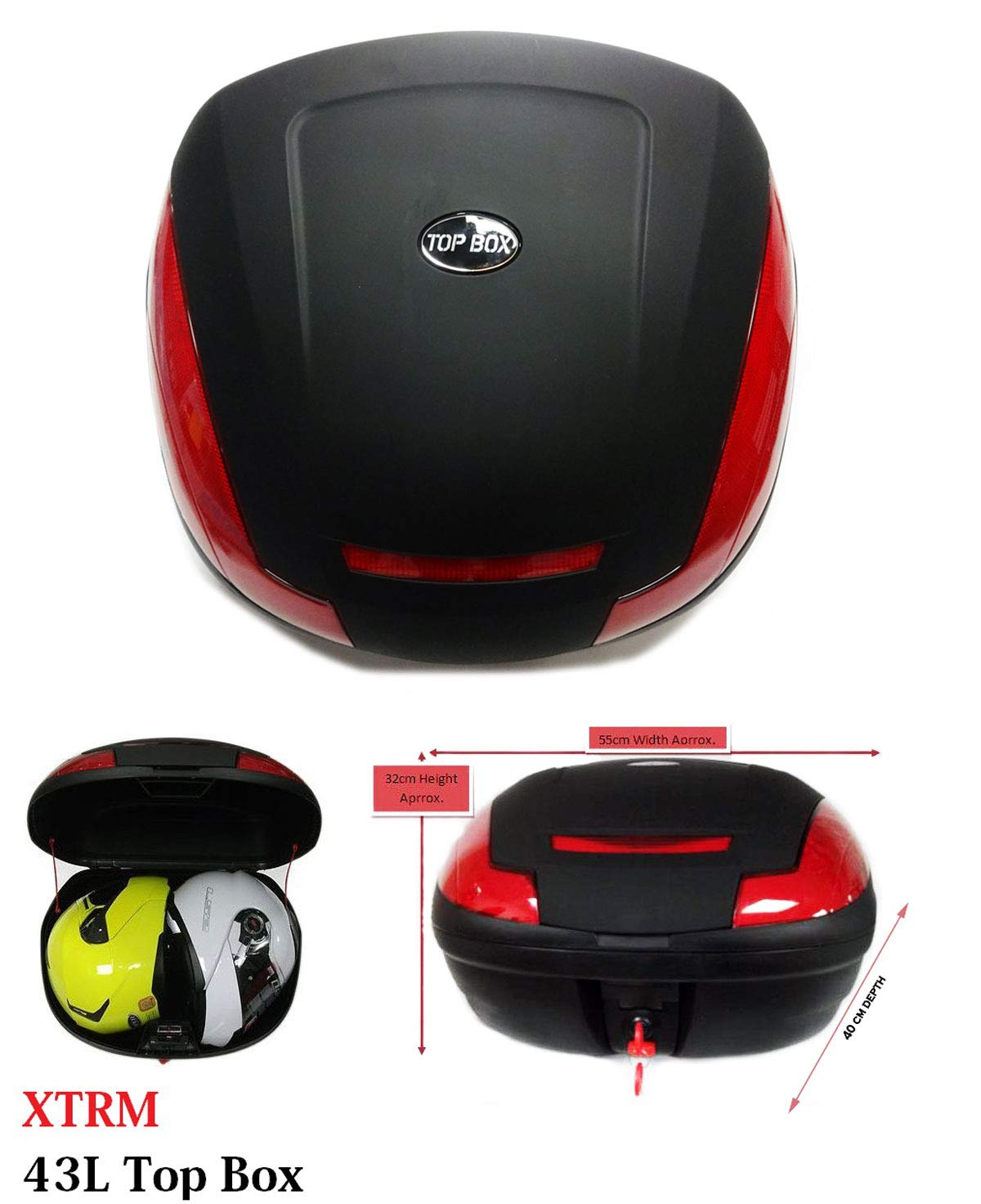 MOTORBIKE LUGGAGE TOP BOX 52 LITRE Motorcycle Scooter Universal Rear Back Fit Top Box Case