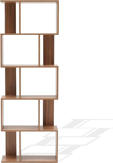 Rebecca Mobili Biblioteca De 5 Niveles Estantería para Libros Marrón Contemporaneo Madera Oficina Salón - 169 x 60 x 24 cm (AxANxFON) - Art. RE6031