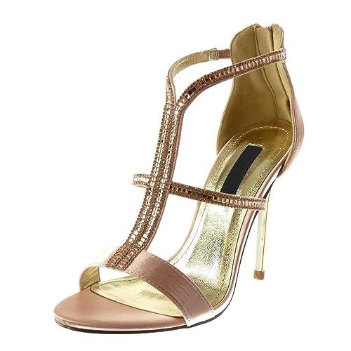 cfc92ad02f92b Angkorly - Zapatillas Moda Tacón escarpín Sandalias Stiletto Altas Mujer  Strass Multi-Correa Tacón de Aguja Alto 10.5 CM  Amazon.es  Zapatos y  complementos