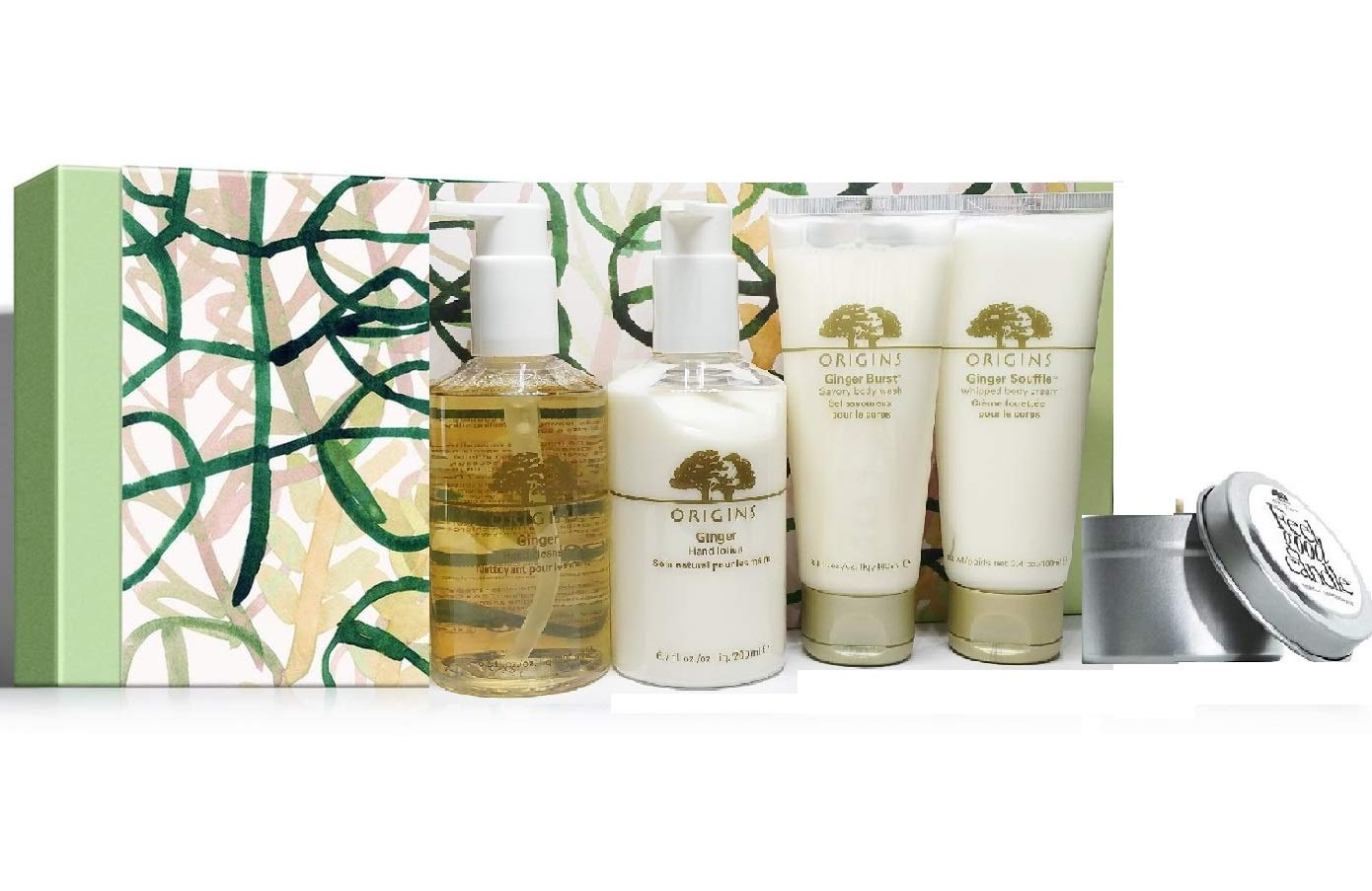 Origins Ginger Gift Set (5 Full Size Pieces) - Lotion, Cleanser, Body Wash, Whipped Body Cream & Candle.