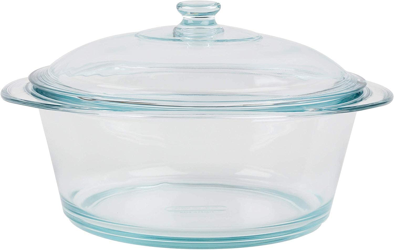 TopgadgetsUK - Cazuela redonda de cristal resistente al horno con tapa, 1 litro: Amazon.es: Hogar