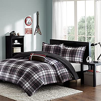 Mizone Harley 4 Piece Comforter Set, Full/Queen, Black - 1 Comforter, 2 Standard Shams, 1 Decorative Pillow Comforter/Sham: 100% polyester microfiber printed, microfiber solid reverse Filling: 200gsm poly fill Pillow: poly cover and poly fill Measurements: 86-by-90-inch Comforter, 20-by-26-inch Standard Shams, 10-by-18-inch Decorative Pillow - comforter-sets, bedroom-sheets-comforters, bedroom - 61tBpTOtaKL. SS400  -