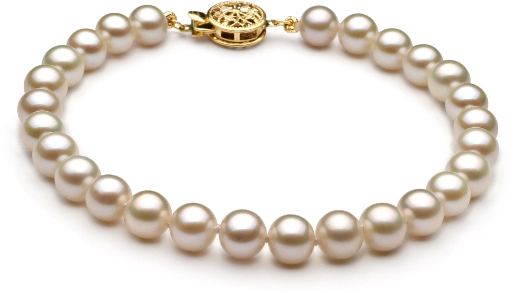 White 6-7mm AAA Quality Freshwater Cultured Pearl Bracelet-7 in length