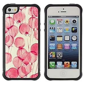 Híbridos estuche rígido plástico de protección con soporte para el Apple iPhone 5 / 5S - flowers pink watercolor yellow