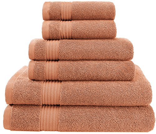 Super Absorbent and Soft Hotel & Spa Quality, 100% Cotton 600 GSM, 6 Piece Turkish Towel Set for Kitchen and Decorative Bathroom Sets Includes 2 Bath Towels 2 Hand Towels 2 Washcloths, Tea Rose