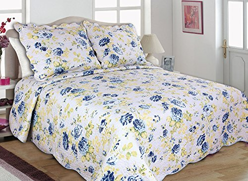 All for You 3pc Reversible Bedspread, Coverlet, Quilt Set-full/queen Size 86\