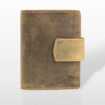 Marc Picard hechas a mano Exclusivo Hombres Piel Monedero tarjeta monedero cartera monedero Tarjetas Funda Wallet - Vintage Piel de ternero marrón marrón ...