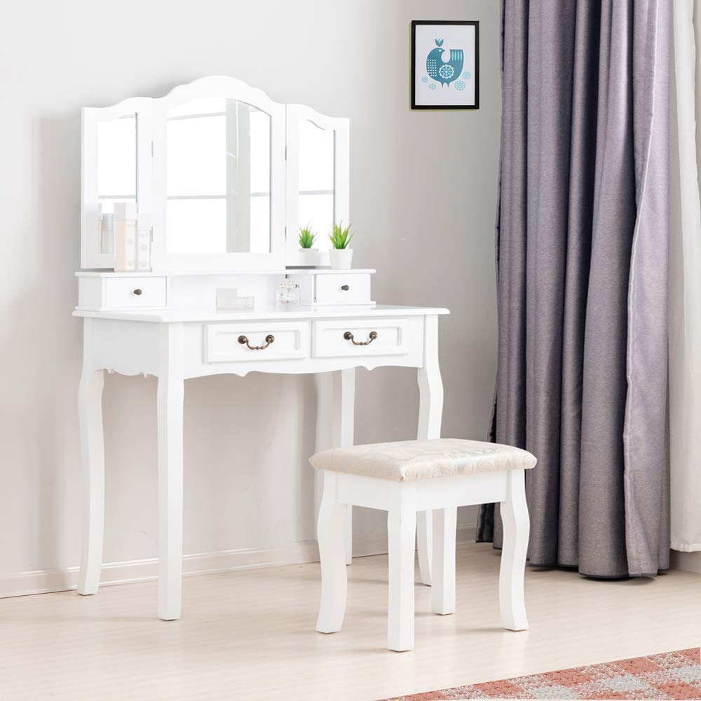 BITBIZ Furniture White MDF Vanity Table and Stool Set, Makeup Table 4 Drawers 2 Dividers Organizers White FST01W