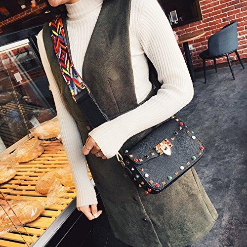 de Sacs Design B épaule messager couleur Bracelet à Rouge couleur bandoulière Rivet Femme Sacs dIq4wIT