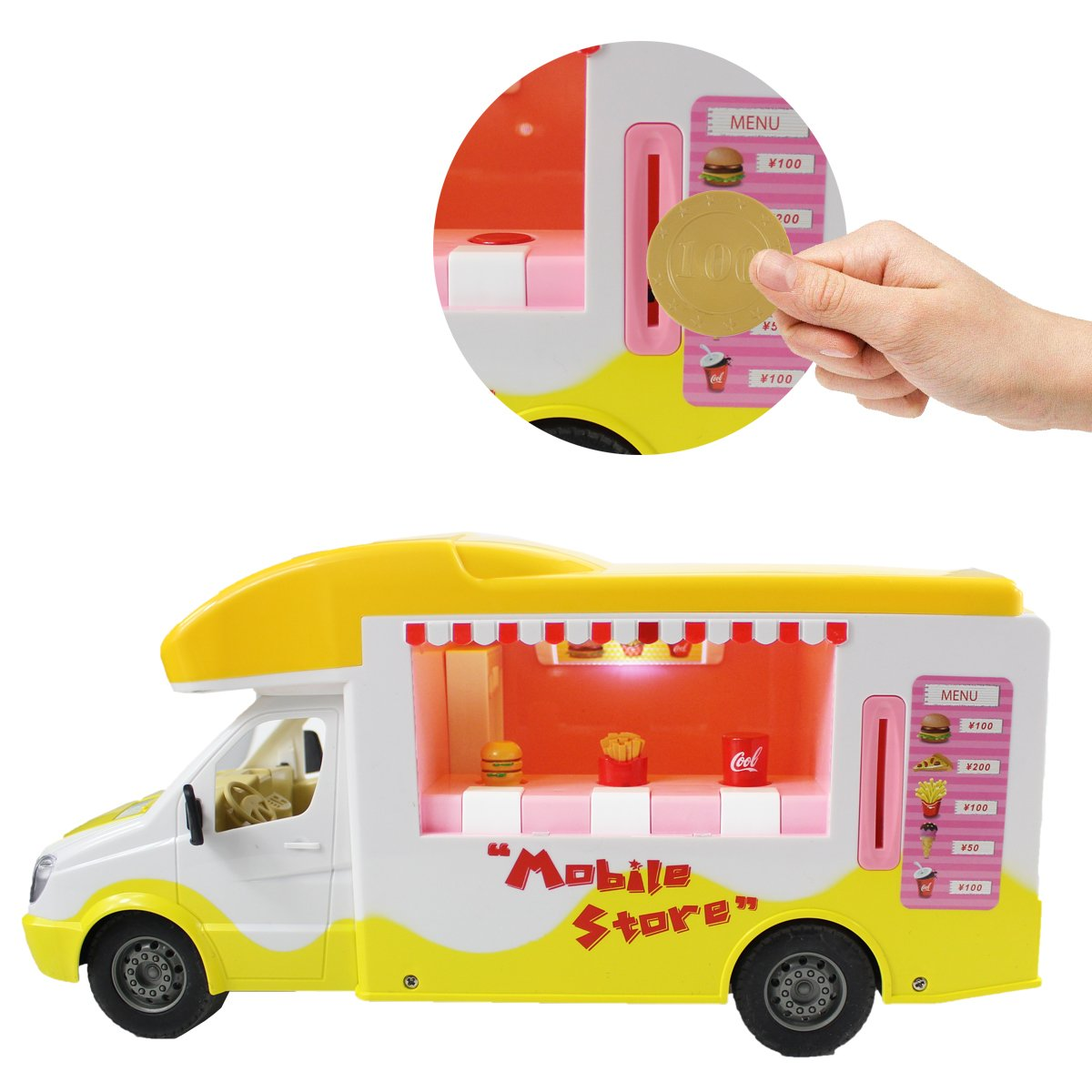 Fisca RC Vending Truck Remote Control Self-Service Buffet Car, 2.4Ghz Fast Food Mobile Store Electronic Toddlers Toy with Sounds and Lights for Kids