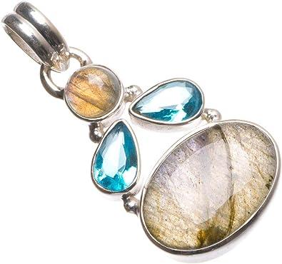 Labradorite pendant  Sterling silver  Blue and Golden