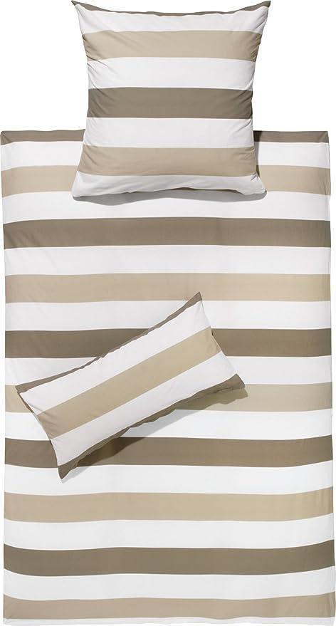 Redbest Bettwäsche Renforcé Taupe Beige Weiß Größe 155x220 Cm 40x80