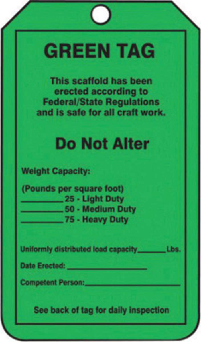 Accuform Signs 5 3/4'' X 3 1/4'' Black & Green 10 mil PF-Cardstock Scaffold Status Tag''GREEN TAG This scaffold has been erected according to Federal/State Regulations and is safe for all craft work'' W by Accuform Signs (Image #1)
