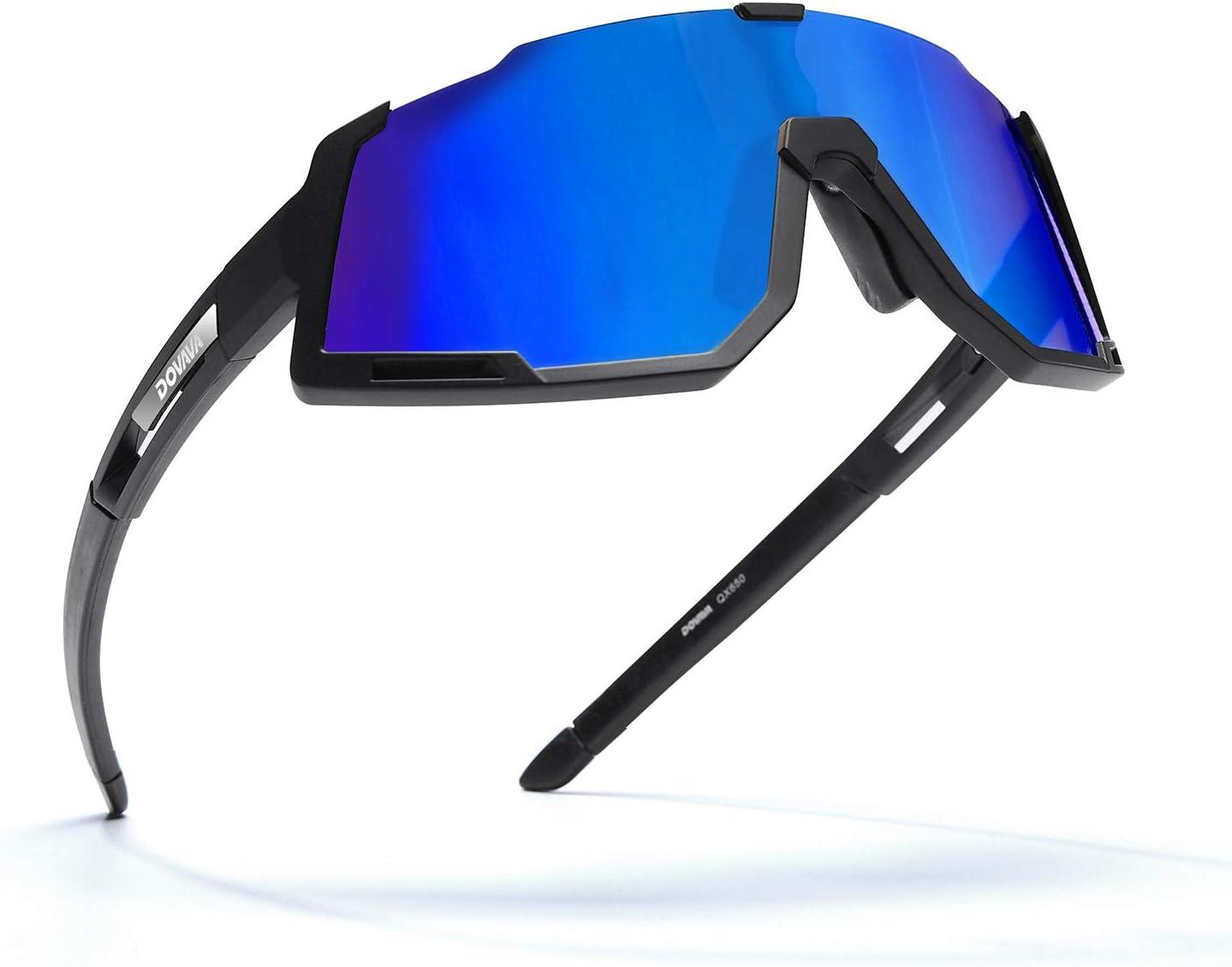 DOVAVA - Gafas de sol deportivas para bicicleta (protección UV400) y marco Tr90 Superlight, con 3 cristales intercambiables