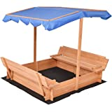 Costzon Kids Foldable Sandbox with Canopy and 2 Convertible Benches