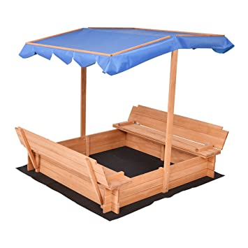 Costzon Kids Foldable Sandbox with Canopy and 2 Convertible Benches  sc 1 st  Amazon.com & Amazon.com: Costzon Kids Foldable Sandbox with Canopy and 2 ...